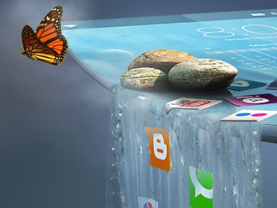 Beyond the Edge cellphone waterfall rocks butterfly curved cinema 4d photoshop