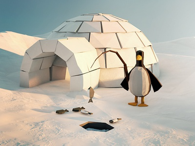 Low Poly Igloo cinema4d penguin arctic ice snow igloo fish low poly north pole cold winter