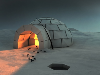 Cozy Igloo igloo night winter snow low poly fish pole north pole cinema4d 3d