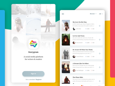 Story app design app design mobile design app story