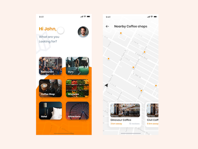 Find Locations - Free Adobe XD interaction map design map map app free adobe xd free ui adobe xd free ui adobe xd app design application coffee shop coffee shop app find app activities app location