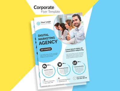 Unique Corporate Flyer Template design for Print