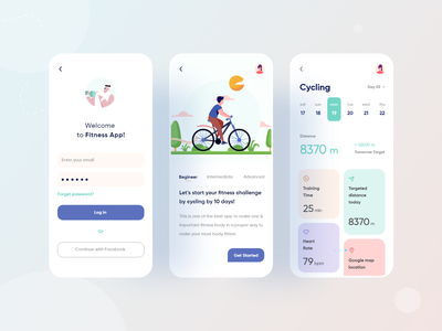 Mobile App Concept- Fitness Activity (Part-2) health app activity app clean uiux clean design clean ui illustrator business illustration color minimal creative design typography ux ui 2020calendar 2020 design 2020 trends 2020 trend 2020