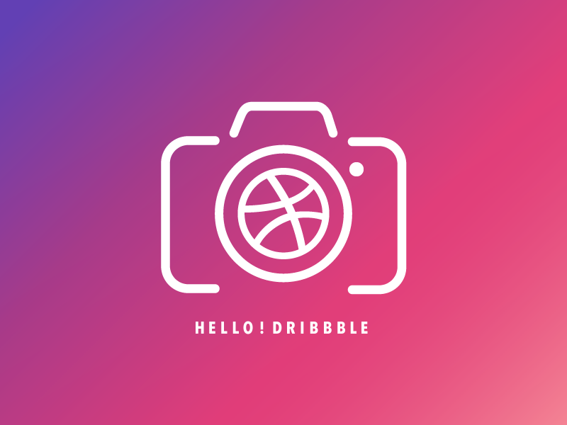 It is my first shot! gradient pink logo icon camera dribbble