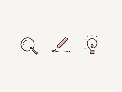 Icons for my portfolio web site animaiton hand drawn light bulb magnify pen search illustration icons