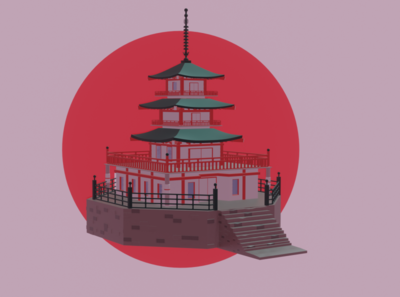 Japanese castle culture castle japanese art simple pretty games lowpoly design b3d blender art 3d art 3d