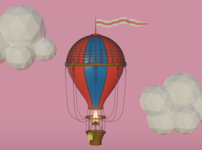 Balloon in the sky sky balloon simple pretty games lowpoly design blender b3d art 3d art 3d