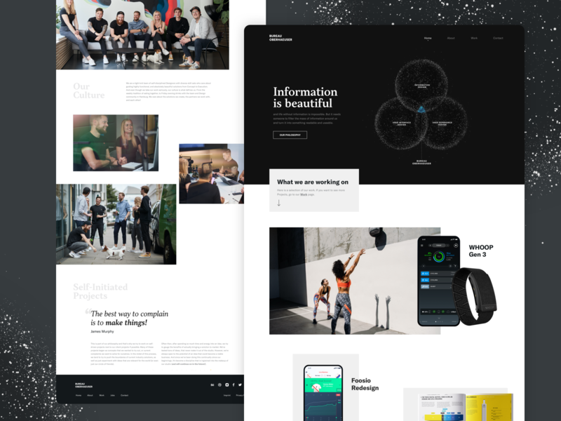New Bureau Oberhaeuser Website uxdesign uidesign portfolio landingpage screendesign website homepage data visualization information design user experience webdesign ux ui