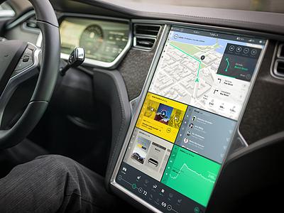 Tesla Interface Concept tesla model s ui interface user interface ux flat widget