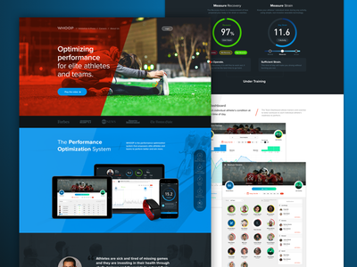 Whoop.com landingpage wearables athletes sport user experience user interface ux ui one pager landing page