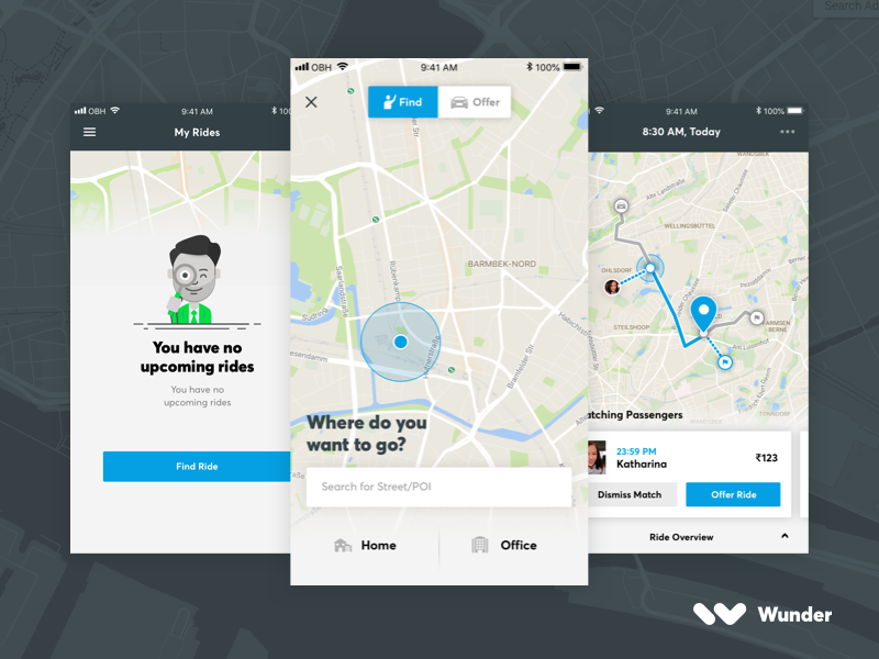 Wunder Carpool App map guidance transportation minimal carpool app user interface interface ux ui