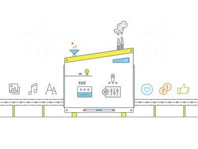 ROI Machine conveyor smoke outline icons icon machine illustration