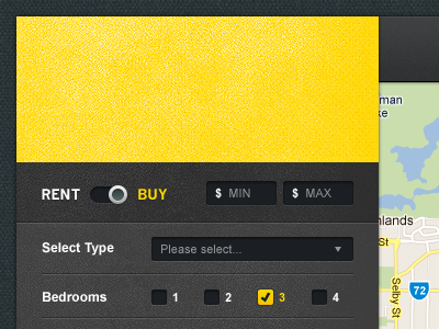 Filter Options form yellow mapping maps google map toggle check select texture