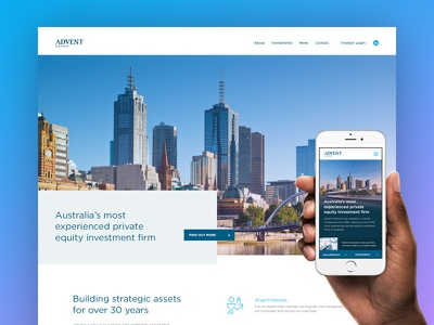 Advent Partners web ui marketing layout video homepage website finance