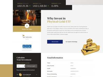Teaser: Physical Gold ETF Layout gric ux ui humaan type calculator homepage website web