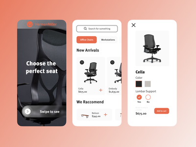 Herman Miller E-commerce App chairman mobile app mobile ui mobile app design mobile design mobile ecommerce design ecommerce shop ecommerce app ecommerce chair design herman miller chairs chair branding app ui ux minimal design