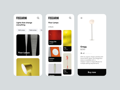 Foscarini Mobile App luxury brand blackandwhite black  white ecommerce design ecommerce shop ecommerce app ecommerce mobile app design mobile design mobile app lamps mobile ui mobile luxury branding app ux ui minimal design