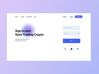 Crypto Trading Website Sign In Page webdevelopment webdesigner webdesign website finance business finance app finances finance crypto exchange crypto currency cryptocurrency crystal crypto wallet crypto branding ux ui minimal design