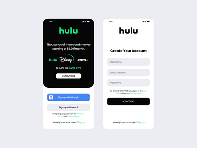 Hulu Sign Up | Daily UI Challenge 001 (Sign up flow) dailyui figma mobile app design mobile design mobile app mobile ui mobile sign up sign in signup tv show tv series tv shows tv streaming app video streaming ux ui minimal