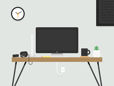 Where The Magic Happens ® mac plant workspace flat minimal sketch desktop desk illustration