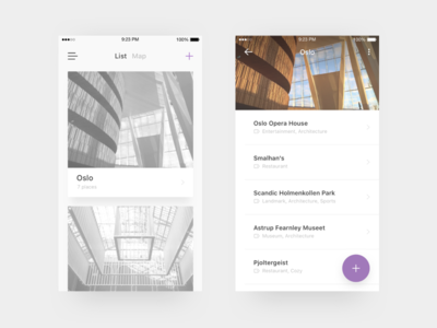 Travel Tracker App  iphone feed app card architecture sketch oslo minimal ui swift ios travel