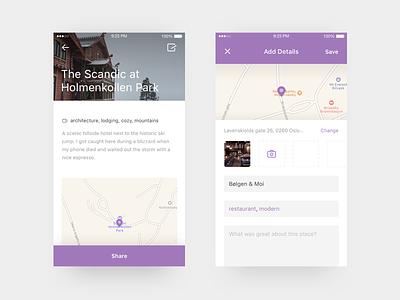 Travel Tracker App #2 map ux ui travel swift sketch oslo minimal iphone ios app
