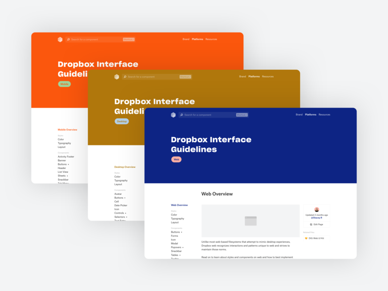 Dropbox Interface Guidelines minimal guidelines documentation component desktop mobile web design system