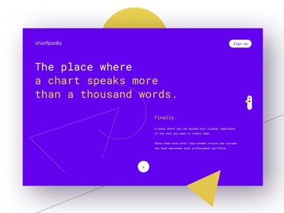 Chartipedia | Landing page database data visual webdesign creator tool awwwards art landing charts chart