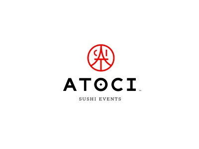 Atoci | Logo red minimal typography japan food restaurant brand mark events sushi logo design branding logo