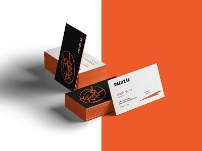 Business cards for Rallylab orange identity design identity logo branding business cards wrc race car rally