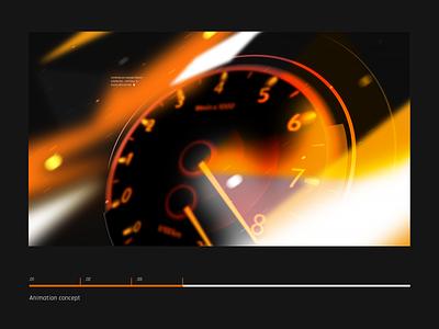 Animation concept | Screen speed glitch camouflage orange speedometer speed logo brand branding mechanics rally
