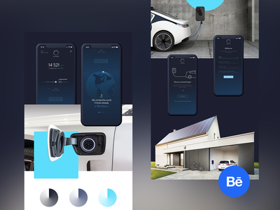 sonnenCharger | Presentation global app minimal green eco ecology behance ui clean power hybrid tesla charger renewable car electric blue renewable energy