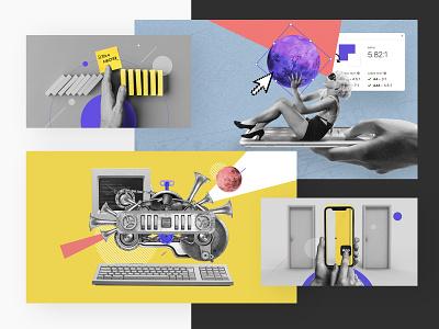 Collage for Boldare poland boldare laskosz photomanipulation press technology brand pr graphic design branding illustration art collage