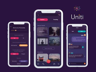 Uniti Application mental health empathy map ux research typography logo branding grafik web ux adobe xd design app ui