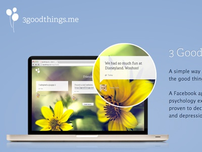 3goodthings.me Landing Page landingpage css3 product facebook app positive