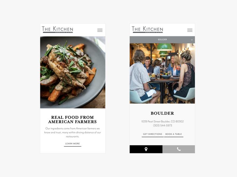The Kitchen Web Design restaurant website food restaurant minimal website web design contemporary modern