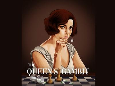 The queen's gambit digitalart vector draw drawing art design illustration