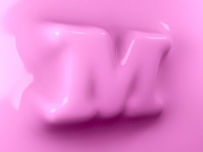Wax M pink collision typography blob cinema4d wax