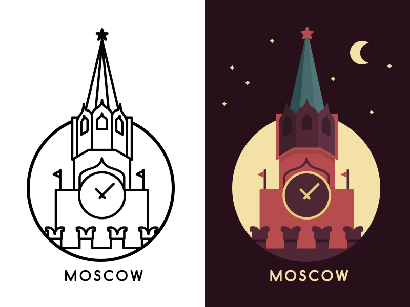 Moscow moscow city logo icon msc russia kremlin outlines night illustration urban