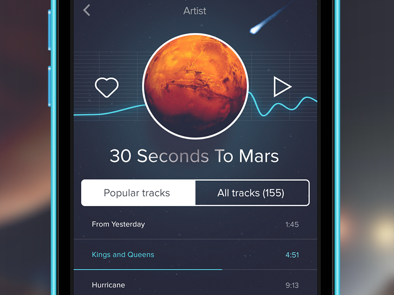 iOS music player music ui play ios artist space gui