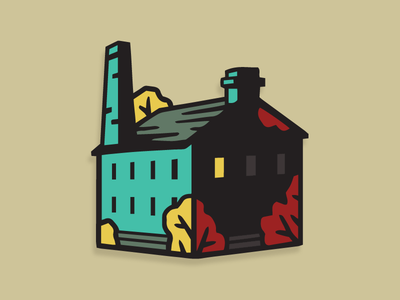 Crafty Old Mill enamel pin architecture building yorkshire northern craft industry mill