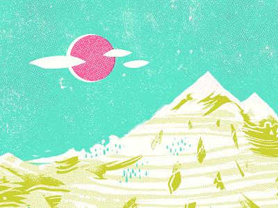Halftone Mountains vibrant bold clouds sun mountains landscape print silkscreen screenprint