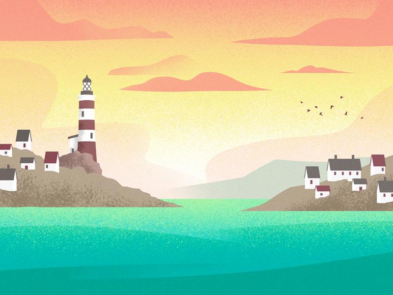 Lighthouse Bay houses landscape sunset coast coastline ocean sea lighthouse