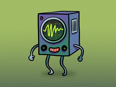 Captain Waveman speakers character doodle weird soundwave waveform audio