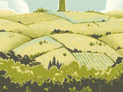 Made In Yorkshire poster travel texture screenprint silkscreen landscape yorkshire