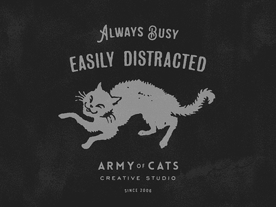 Always Busy, Easily Distracted cat typography logo design