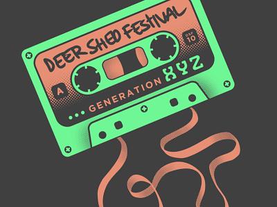 DSF10 Cassette neon apparel design design graham pilling deer shed festival