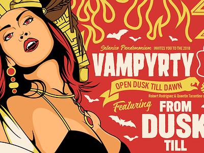 Vamparty Poster girl bat halloween cult illustration drive in poster movie horror quentin tarantino vampire from dusk till dawn