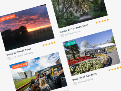 Tiny Tours UI northern ireland belfast tours reviews interface ui