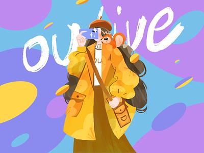 Electronic girl art illustration design ui app